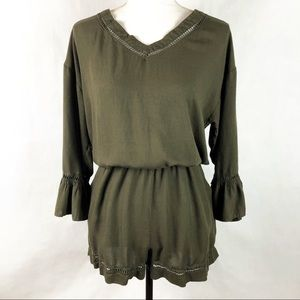 Women's VENUS Green Bell Sleeve Romper Dress